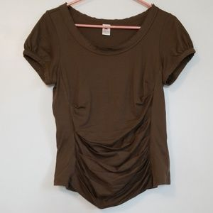 Peruvian Connection Brown Pleated Top Large